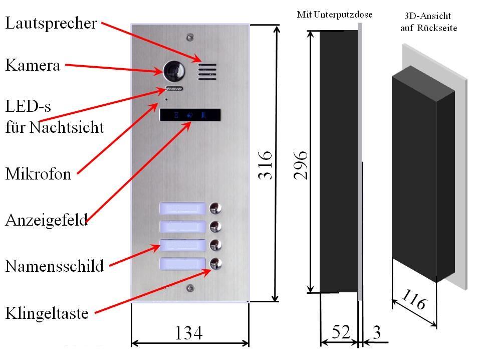 Aussenstation Edelstahl Video Gegensprechanlage Mehrfamilienhaus mit 2-draht-Technik