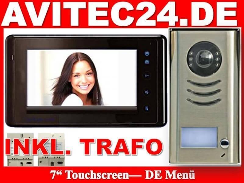 video t rsprechanlage mit 7 touchscreen monitor komplettset. Black Bedroom Furniture Sets. Home Design Ideas